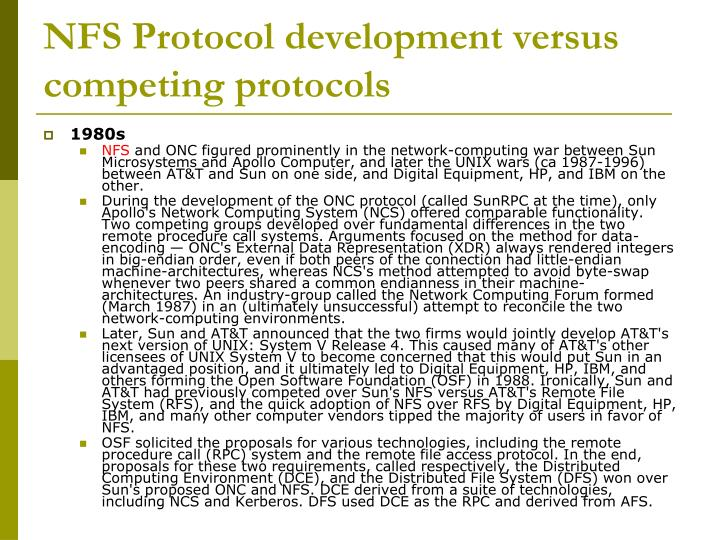NFS Protocol development versus competing protocols