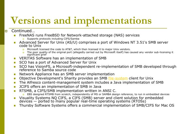 Versions and implementations