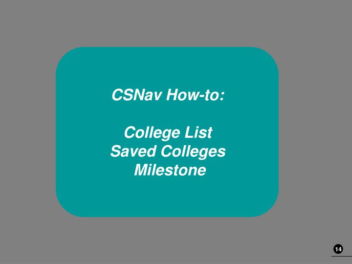 CSNav How-to: