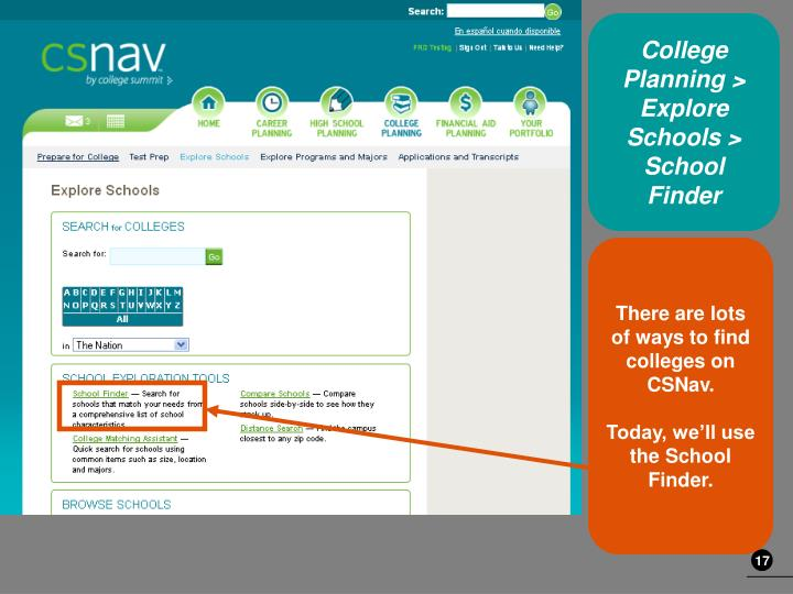 College Planning > Explore Schools > School Finder