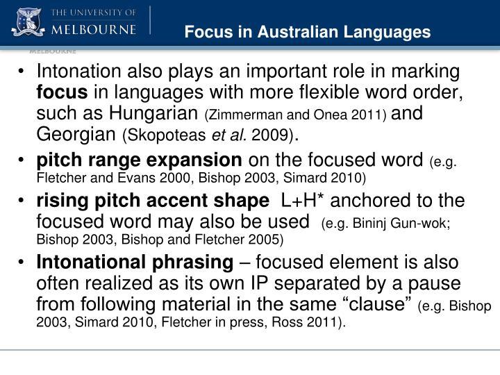 Focus in Australian Languages