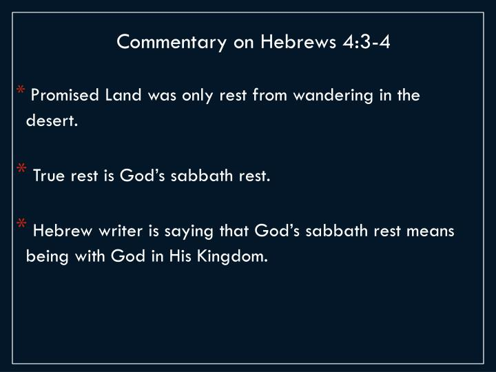 Commentary on Hebrews 4:3-4