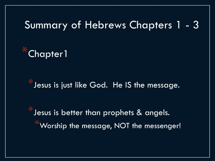 Summary of Hebrews Chapters 1 - 3