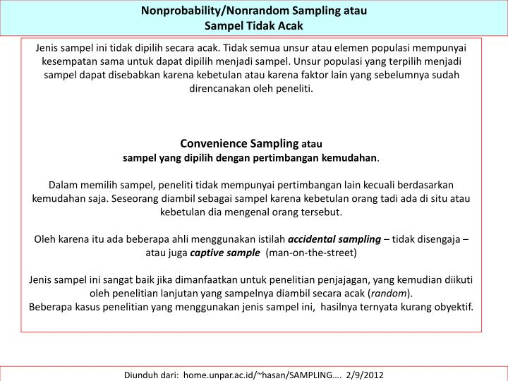 Nonprobability/Nonrandom Sampling atau