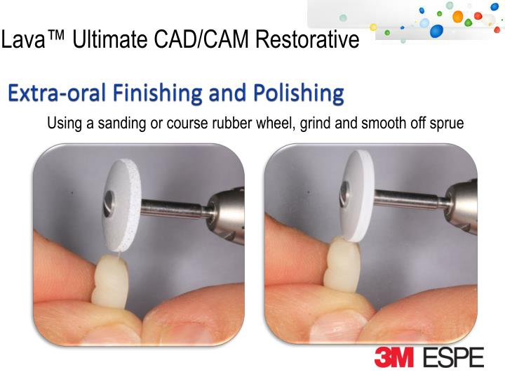 Using a sanding or course rubber wheel, grind and
