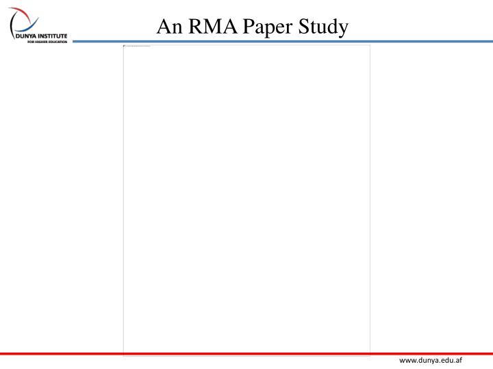 An RMA Paper Study
