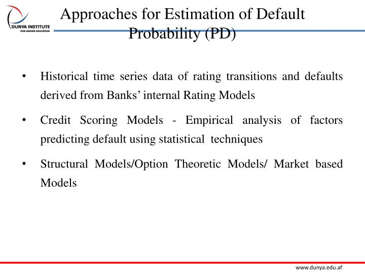 Approaches for Estimation of Default Probability (PD)