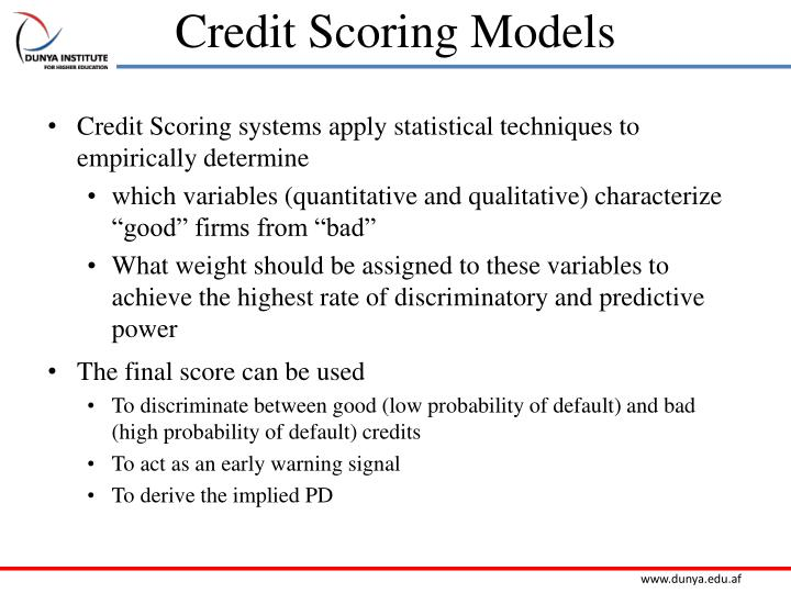 Credit Scoring Models