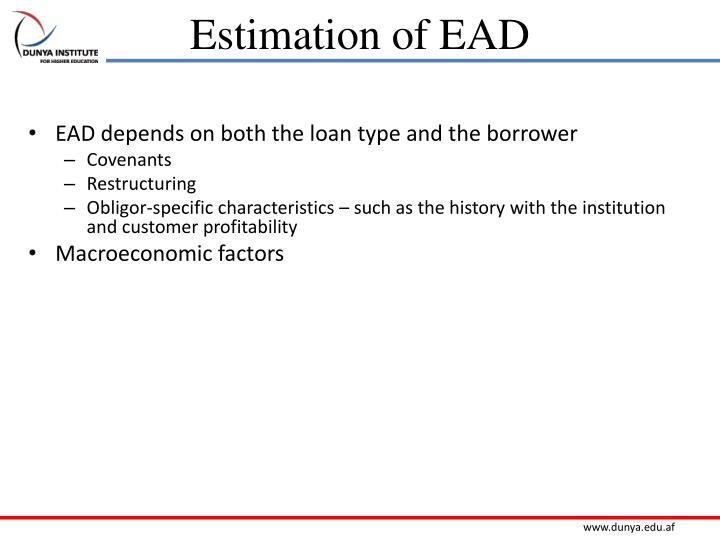 Estimation of EAD
