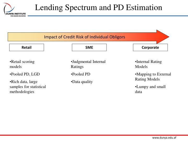 Lending Spectrum and PD Estimation