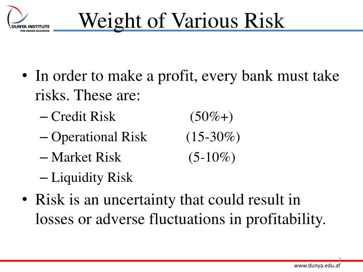 Weight of Various Risk