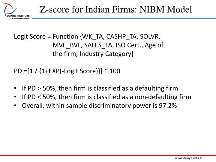Z-score for Indian Firms: NIBM Model