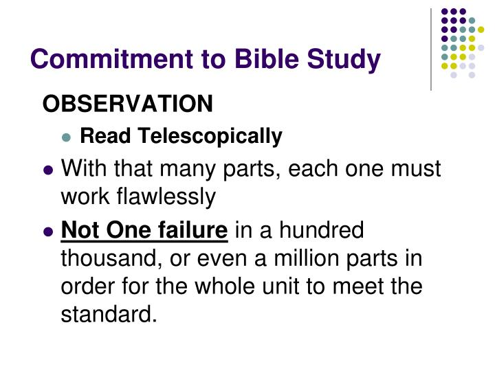 Commitment to Bible Study