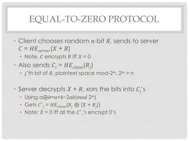 Equal-to-Zero Protocol