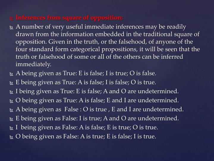 Inferences from square of opposition: