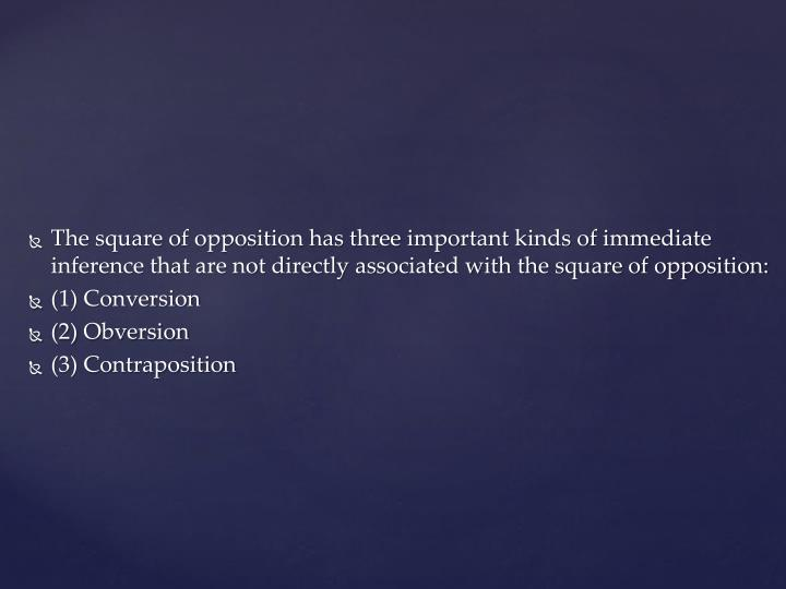 The square of opposition has three important kinds of immediate inference that are not directly associated with the square of opposition: