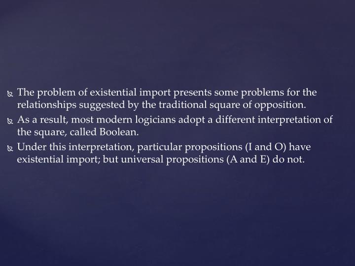 The problem of existential import presents some problems for the relationships