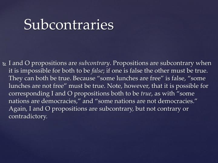I and O propositions are