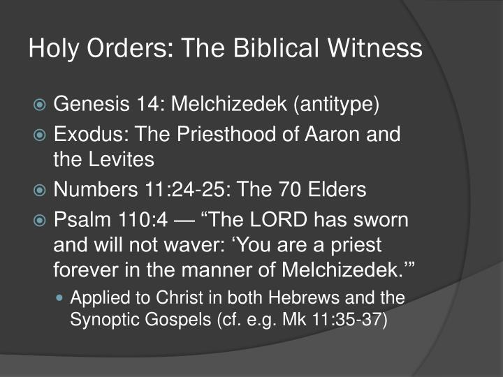 Holy Orders: The Biblical Witness