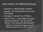 holy orders the biblical witness