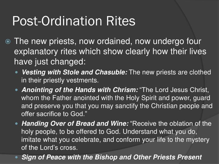Post-Ordination Rites