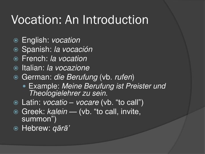 Vocation an introduction