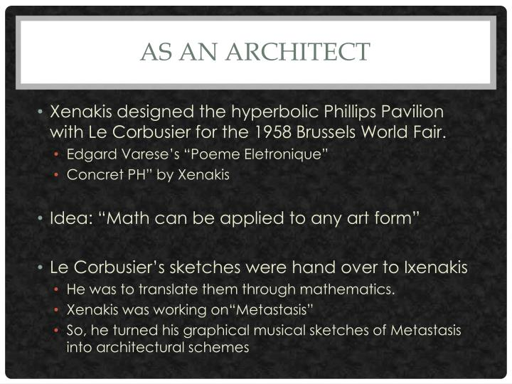 As an architect