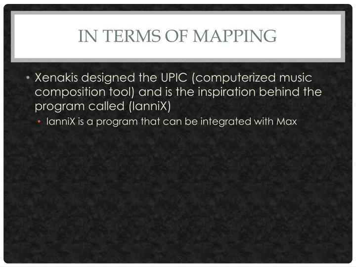 In terms of mapping