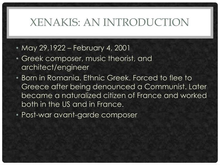 Xenakis an introduction