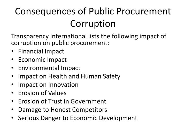 Consequences of public procurement corruption