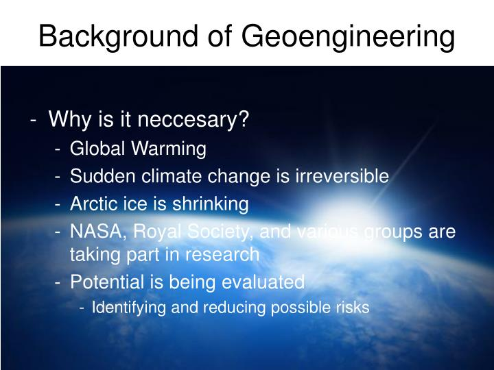 Background of Geoengineering