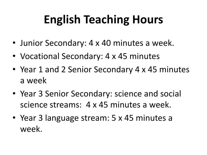 English Teaching Hours