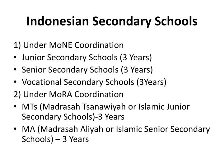 Indonesian secondary schools