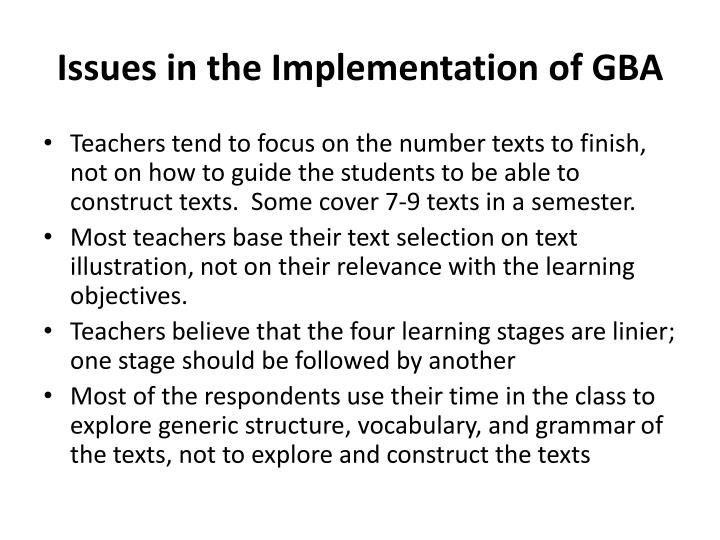 Issues in the Implementation of GBA