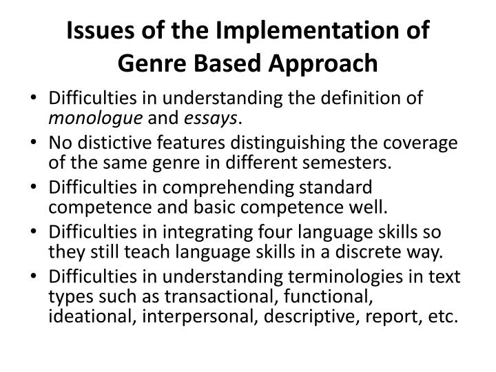 Issues of the Implementation of Genre Based