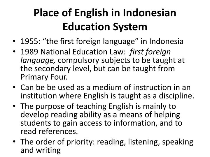Place of English in Indonesian Education System