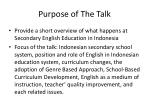 purpose of the talk