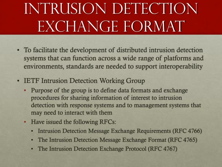 Intrusion detection exchange format