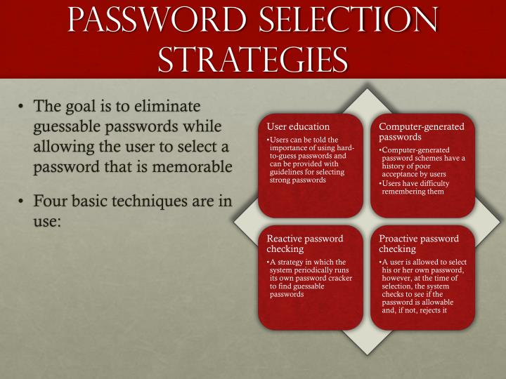 Password selection strategies