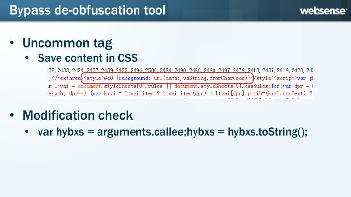 Bypass de-obfuscation tool
