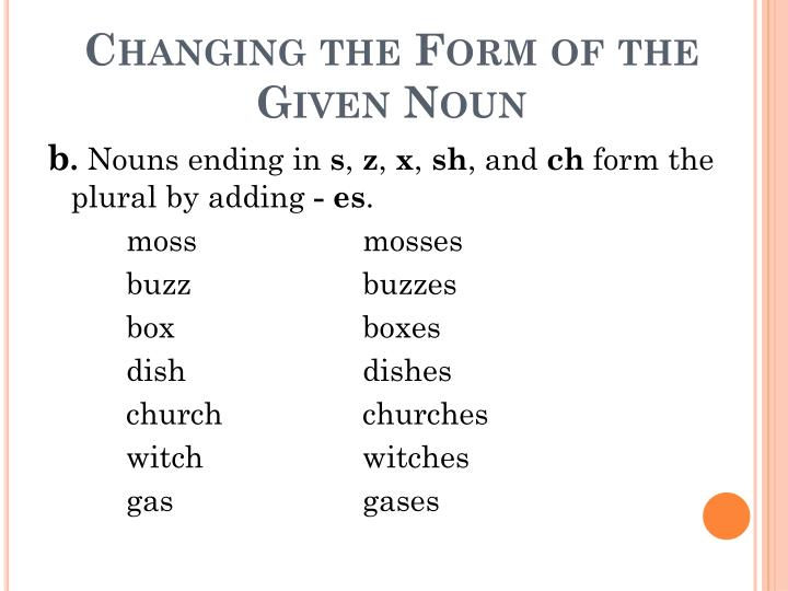 Changing the Form of the Given Noun