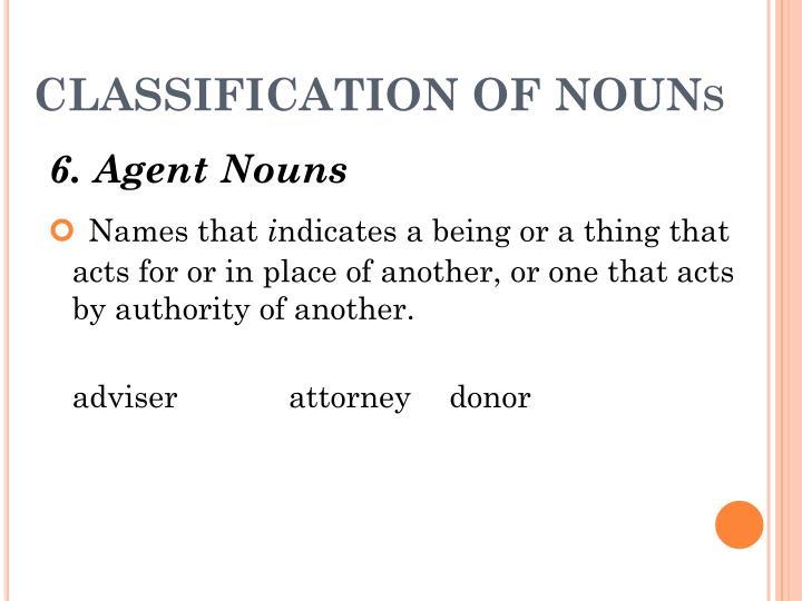 CLASSIFICATION OF NOUN