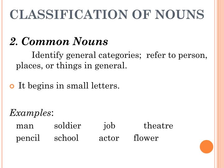 CLASSIFICATION OF NOUNS