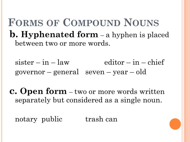 Forms of Compound Nouns