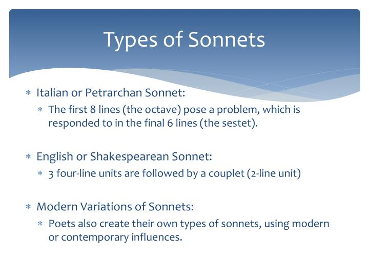 Types of Sonnets