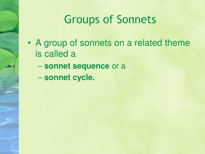Groups of Sonnets