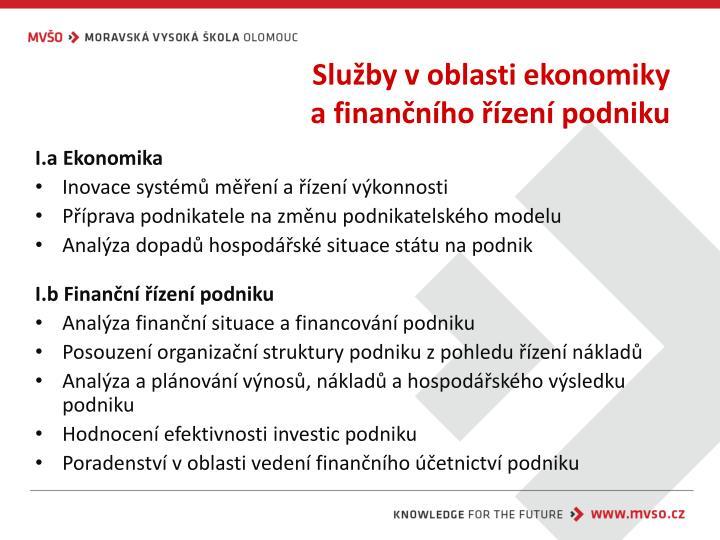 Služby v oblasti ekonomiky