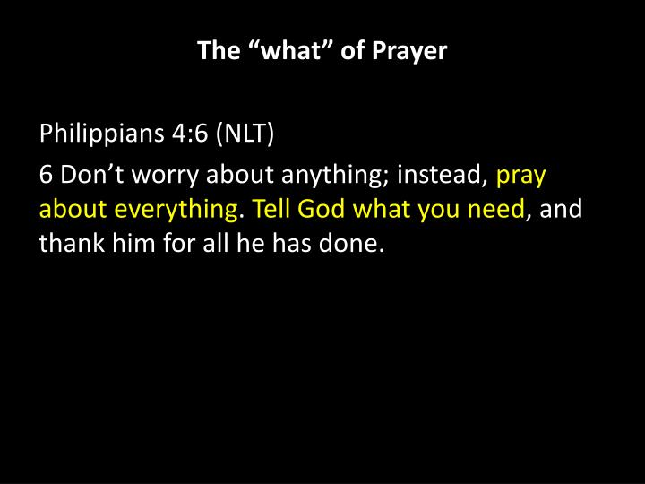 "The ""what"" of Prayer"