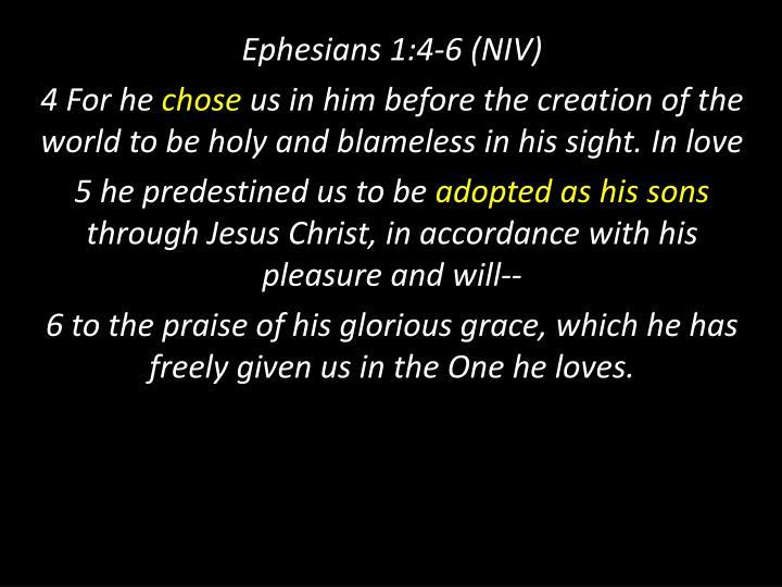 Ephesians 1:4-6 (NIV)