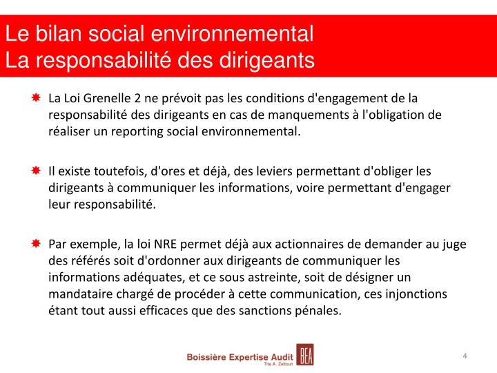 Le bilan social environnemental